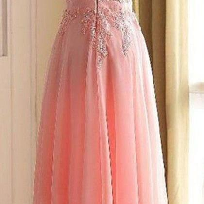 Charming Long Prom Dress, Appliques..