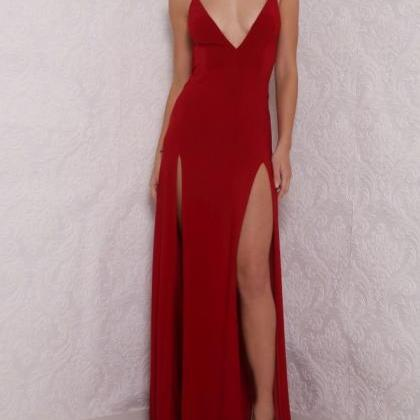 Hot Sexy V-Neck Prom Dress,Spaghett..