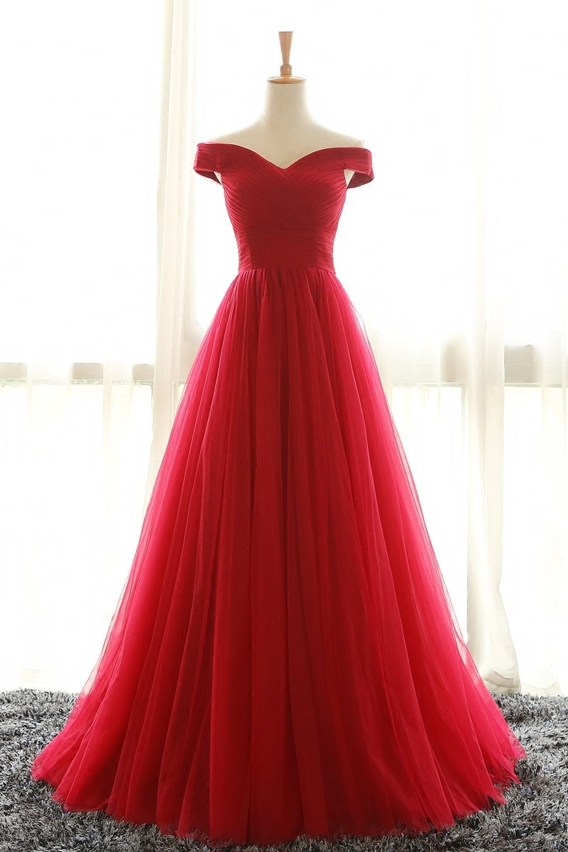 Full Length Off Shoulder Sleeves Red Bridesmaid Dresses,Long Tulle Prom Dress,Woman Evening Dress,Plus Size Formal Dresses,Cheap Prom Dress,Prom Dresses,GH67