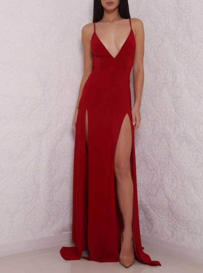 Hot Sexy V-Neck Prom Dress,Spaghetti Straps Prom Gown,Split-Front Red Evening Dress,Long Prom Dress with Backless,2017 Prom Dress,Prom Dresses,G78