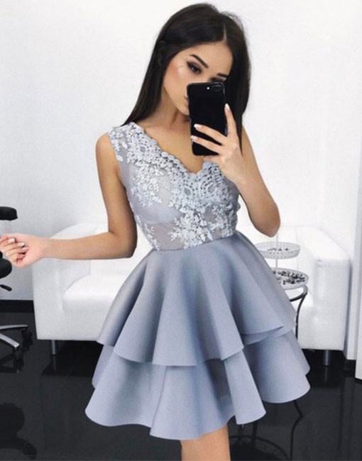 New Arrival A-Line Homecoming Dresses,V-Neck Short Homecoming Dress with Appliques,Cute Mini Prom Dress,Sweet 16 Dress,Homecoming Dress CHI55