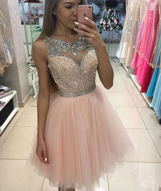 Halter Cocktail Dresses,Pink Tulle Short Prom Dress for Teens,Pink Homecoming Dress,Short/Mini Prom Dress,Plus Size Homecoming Dress,Homecoming Dress,HJ778