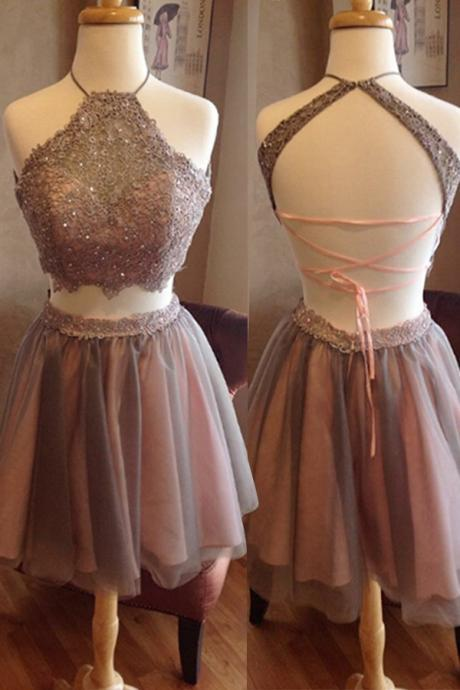 Short /Mimi Homecoming Dress,Two Pieces Homecoming Dress,Open Back Homecoming Dress,High Neck Homecoming Dress,Graduation Dress,Prom Dress for Teens,Homecoming Dress,HU45