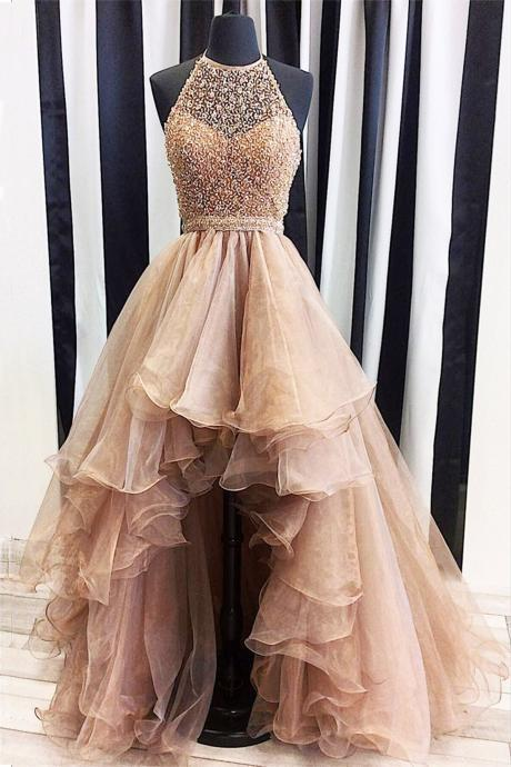 Evening Dresses,Plus Size Prom Gown,Chic Formal Dress,Organza Beading Formal Dress,High Low Prom Dress,Halter Prom Dress,Prom Dresses,HG809