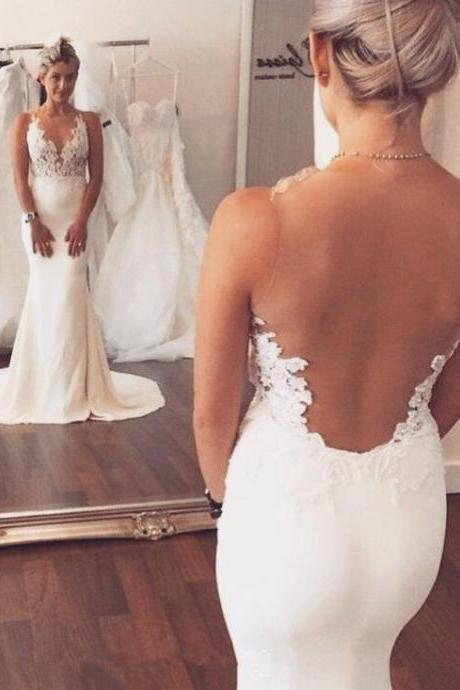 Charming Mermaid Wedding Dresses,Long See Through Wedding Dresses,Open Back Wedding Dresses,Ivory Wedding Gown,Long Lace Spandex Wedding Dress,Wedding Dresses,YU78