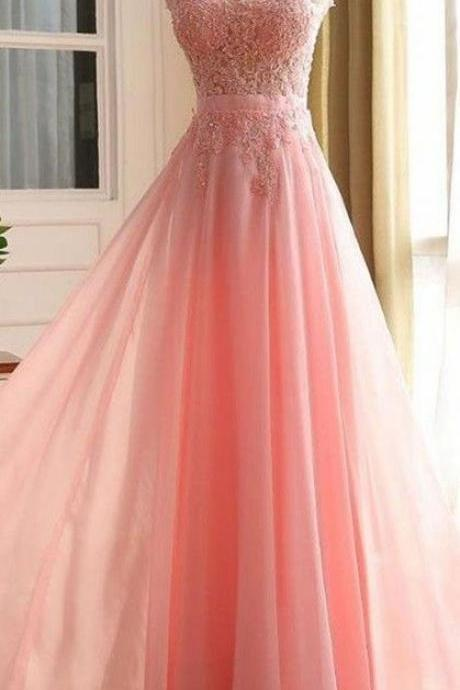 Charming Long Prom Dress, Appliques Pink Prom Dress,Elegant Prom Dress,Long Evening Dress,Formal Gown,Long Zipper Prom Gown,Prom Dresses,HG89