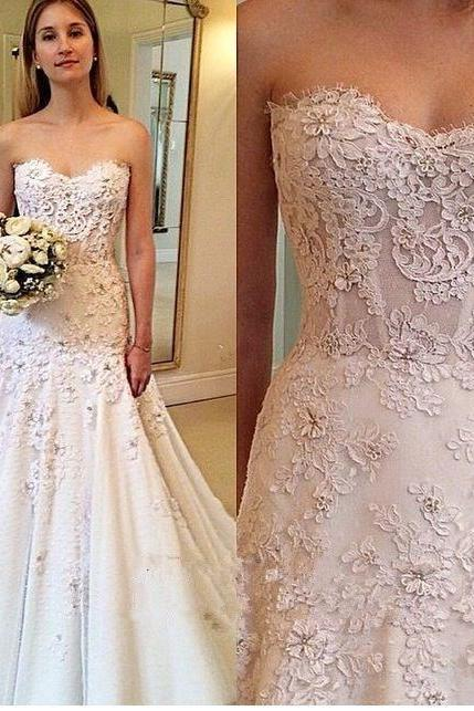 Sweetheart Wedding Gown,Princess Wedding Dresses,Beautiful Wedding Dress Brides Dress,Lace Wedding Dresses,Wedding Dresses,GU346