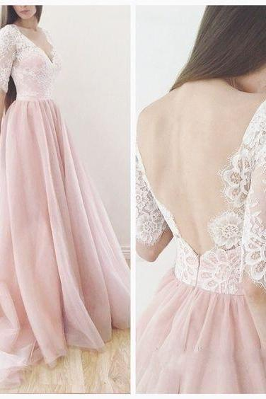 Blush Pink Prom Gown,Ball Gown Prom Dress,Lace Simple Prom Dress,Tulle Prom Dress,Simple Evening Gowns,Cheap Party Dress,Elegant Prom Dress,Prom Dresses,HF67