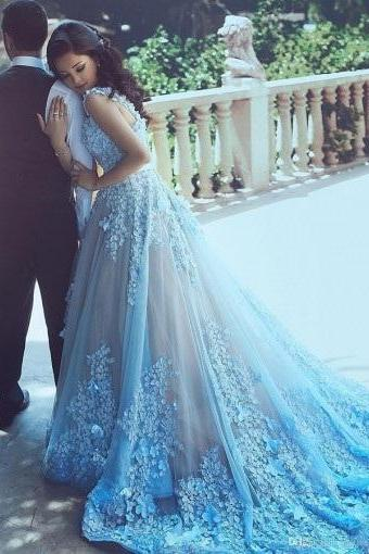 A-Line Wedding Dress,Sequare Chapel Train Prom Dress,Sleeveless Blue Tulle Wedding Dress with Appliques Sash,Wedding Dresses,EDR6879