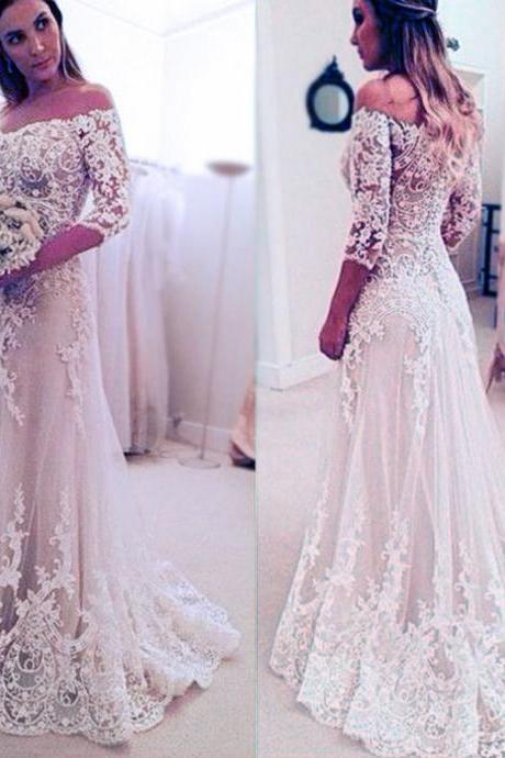 Stunning Off Shoulder Wedding Dress,Half Sleeve Bridal Dress,Long A-line Wedding Party Dresses,Wedding Dresses,GDD5667