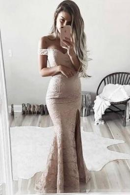 Mermaid Off Shoulder Sleeves Blush Lace Slit Prom Dress,Sweetheart Sweep Full Length Prom Dresses,Plus Size Evening Dress,Prom Dresses,HU80