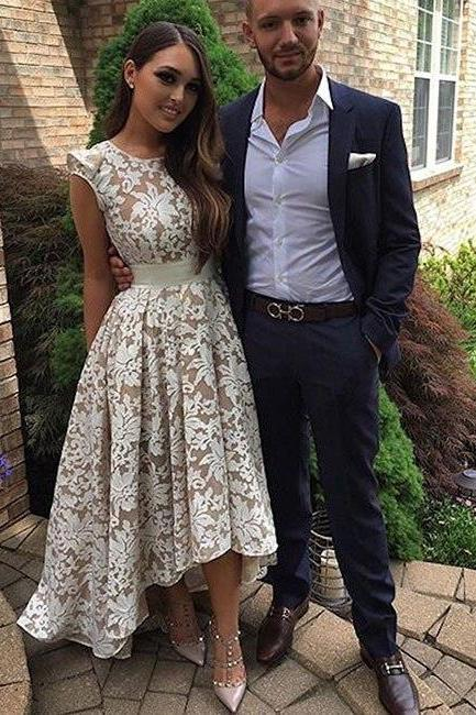Modest Prom Dress,Elegant Long Round Neck Lace Prom Dress for Teens,Cute Homecoming Dress,Prom Dresses 2017, Lace Homecoming Dresses,Prom Dresses,HR89