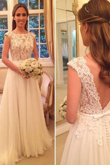 See-through Lace Appliqued Bodice Wedding Gown,Chiffon Beach Wedding Dress with Cap Sleeves,Sweep Train Scoop A-line Bridal Dress,Wedding Dresses,HU89