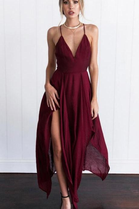 Sexy Straps Prom Dress,V-neck Long Prom Gown,Burgundy Chiffon Prom Dress Homecoming Dress,Sexy Evening Dress,Prom Dresses,GY7898
