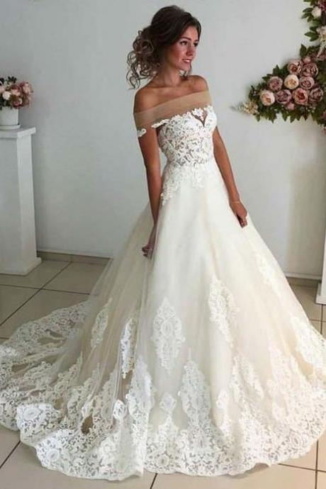 Affordable Lace Unique Wedding Dress,Off the Shoulder Online Charming Long Wedding Dresses,Elegant Tulle Wedding Dresses, Wedding Dresses,GY67