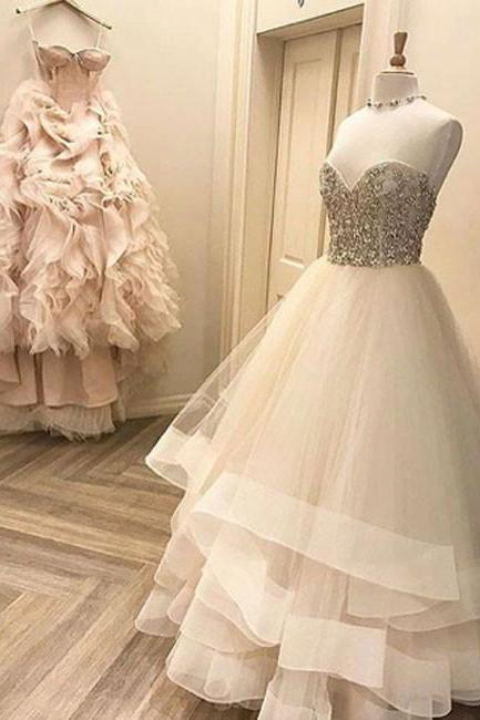 Cute White Wedding Dresses,Tulle Long Prom Dresses,White Formal Dress,V-Neck Wedding Gowns,Floor-Length Wedding Dress,Wedding Dresses,GY56