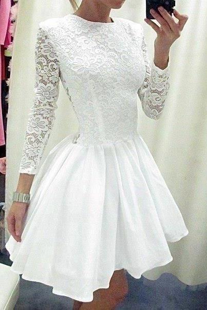 Long Sleeves Princess White LaceTaffeta Skirt Short Wedding Dress,High Neck See Through Back Above Knee Length Bridal Wedding Gowns,Mini Length Homecoming Dresses,Short Prom Dress Bridal Wedding Dresses,Wedding Dresses
