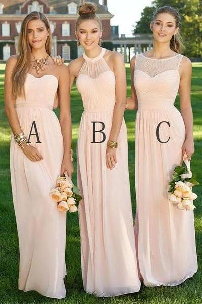Mismatched Different Styles Bridesmaid Dresses,Chiffon Blush Pink Modern Formal Bridal Dresses,Floor-Length Cheap Bridesmaid Dresses,Bridesmaid Dresses,BH54