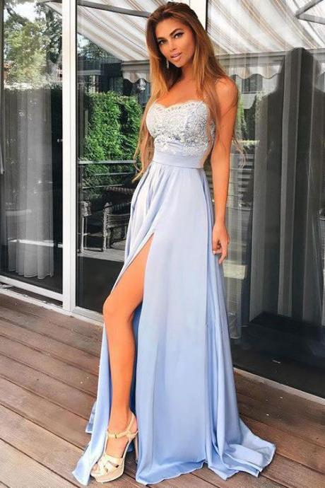 Charming A-Line Light Blue Prom Dress,Spaghetti Straps Chiffon Prom Dress,Long Lace Top Prom Dress,Split Evening Party Gowns,Prom Dresses GT54