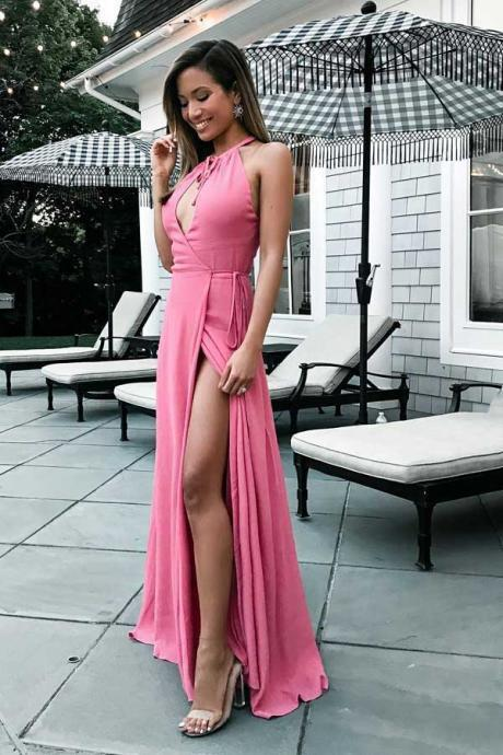Halter Split Front Sleeveless Prom Dresses,A-Line V-Neck Chiffon Evening Dresses,Plus Size Formal Dress,Prom Dresses YH54
