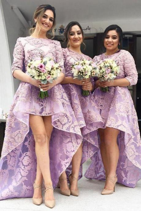 Chic Pink Jewel 3/4 Sleeves Prom Dresses,High Low Organza with Appliques Bridesmaid Dress,Bridesmaid Dresses YG54