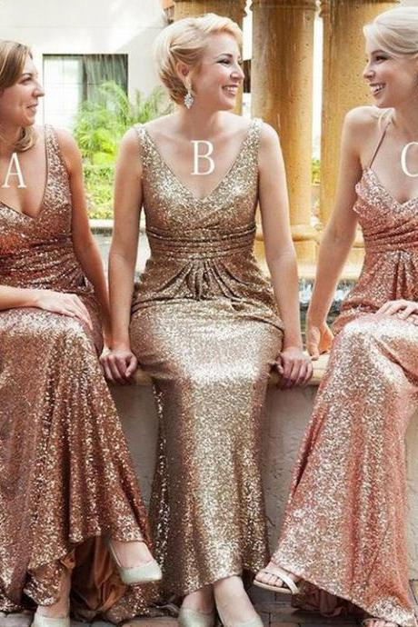 Popular Mismatched Long Prom Dresses,Sheath Sequin Bridesmaid Dresses,V Neck Mermaid Backless Party Dress,Bridesmaid Dresses TF43