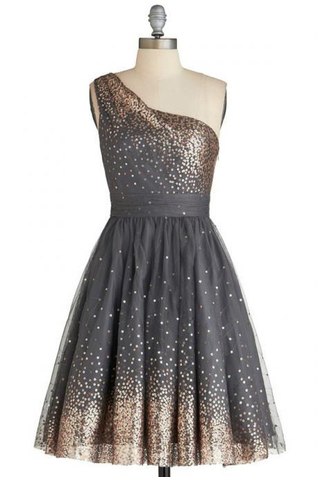 Decent One Shoulder Knee-Length Grey Homecoming Dress, Sequined Sleeveless Cocktail Dress,Cute Sweet 16 Dress, Homecoming Dress TF43