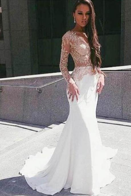 White Illusion Mermaid Long Sleeve Floor Length Prom Dress With Appliques, Prom Gowns, Prom Dresses Long, Formal Dresses,CP245