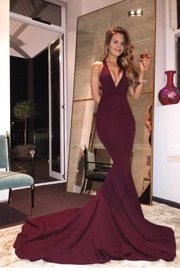 Sexy Prom Dresses, Long Prom Dress, Mermaid Prom Gowns, Back Criss- Cross Prom Dress,Chapel Trailing Prom Dresses,Prom Dresses
