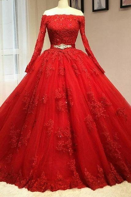 Red Prom Gowns, Ball Gown Prom Dress, Long Sleeve Red Prom Dress, Prom Dress,Long Prom Dresses,Tulle Prom Dresses,Beading Prom Dresses, Prom Dresses