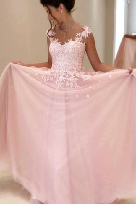 Appliques Prom Dress,Cap Sleeves Prom Dresses,Lace Prom Dress,Chiffon Prom Gowns,Long Prom Dresses 2017,Sleeveless Prom Dress,Charming Prom Dress,Prom Dresses