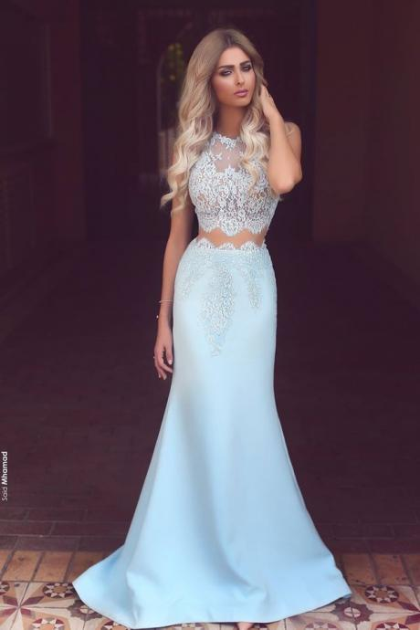 Sleeveless Prom Dresses,Long Prom Dresses,Baby Blue Prom Gowns,Two Piece Evening Dress,Lace Mermaid 2017 Prom Dresses, Cheap Prom Dress,High Prom Dresses,Prom Dresses