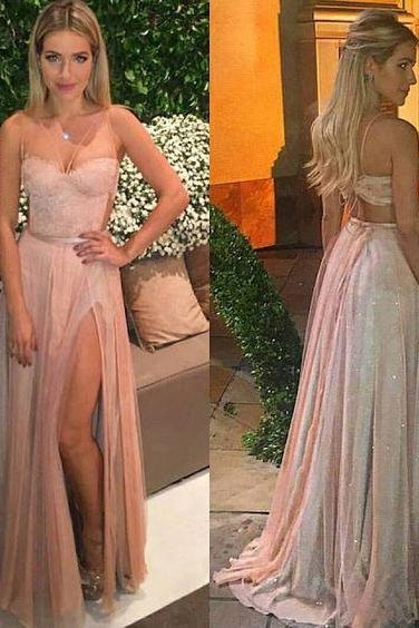 Pink Prom Dress,Backless Prom Dresses,Elegant Prom Gowns,Beading Prom Dresses,Long Prom Gown,Chiffon Prom Dress,Sparkle Evening Gown,Charming Prom Dresses,Prom Dresses