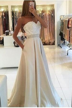 Sweetheart Prom Dresses,Satin Evening Dress,A-Line Prom Dress, Elegant Prom Dress,Beading Prom Gowns,Charming Prom Dresses,New Arrival Prom Dress 2017,Prom Dresses