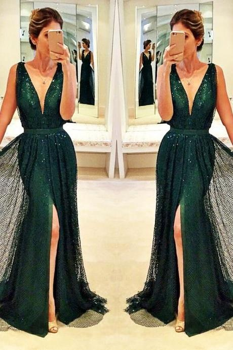 Beading Prom Dresses,Sleeveless Prom Gown,V-Neck Prom Dress,Sexy Prom Dress,Tulle Prom Gowns, Dark Green Prom Dress,Sleeveless Prom Dress,Lace Prom Dress, Prom Dresses
