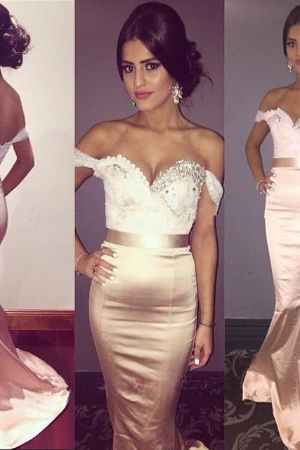 Pink Evening Gowns,Lace Formal Dresses,Off-The-Shoulder Prom Dresses,Fashion Evening Gown,Beautiful Evening Dress,Sweetheart Prom Gown,Satin Prom Dress,Mermaid Prom Dress, Prom Dresses