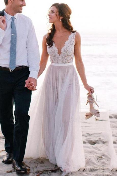 Elegant Wedding Dress,Beach Wedding Dress,Coast Wedding Dresses,Lace Bridal Gowns,A-Line Wedding Gown,Tulle Wedding Dress,V-Neck Wedding Dress,Wedding Dresses