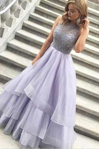 Sparkly Long Lavender Beaded Prom Dresses ,Handmade Pretty Prom Gowns,Modest Party Dresses,Evening Dresses,Sleeveless Prom Dress,Prom Dresses