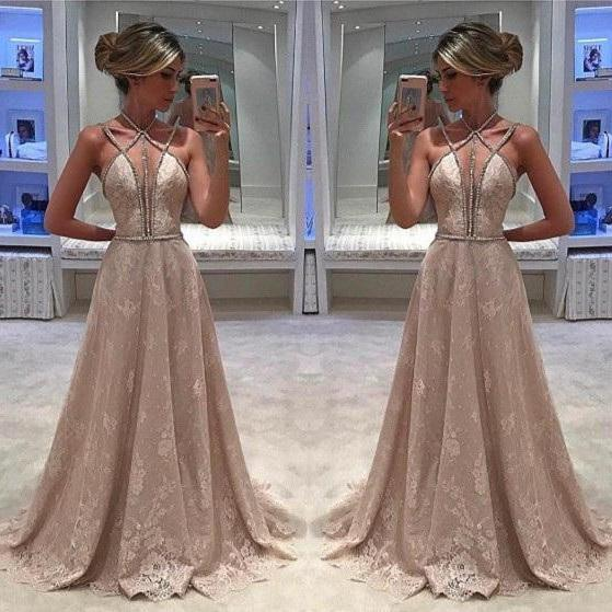 Plunging Sleeveless Lace Beaded A-line Long Prom Dress, Evening Dress with Sweep Train
