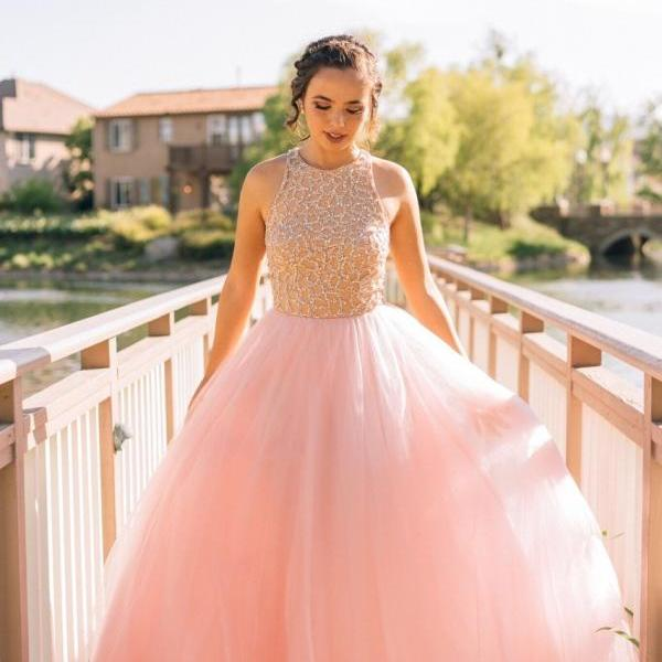 Tulle Princess Prom Dress,Ball Gown Prom Gown,Pink Prom Gown,Elegant Evening Dress,Tulle Evening Gowns,2017 Party Gowns With Beading,Plus Size Formal Dress,Prom Dresses,GF87