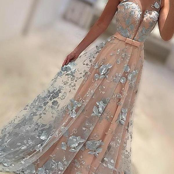 New Arrival A-Line Prom Dress,V-Neck Sweep Train Evening Dress,Lace Long Prom Dress with Bow-knot,Prom Dresses,HG899