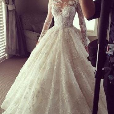 Charming Mermaid Wedding Dresses,Elegant Ball Gown Wedding Gown,Lace Long Wedding Dress,Long Illusion Sleeves Bridal Dress,Princess Wedding Dress,Wedding Dresses,HF88