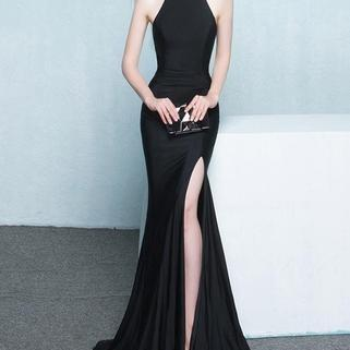 Charming Simple Style Long Sheath Sexy Cheap Black Prom Dresses,Elegant Evening Dress,New Arrival Formal Dress,Graduation Dress,Prom Dresses,RT76