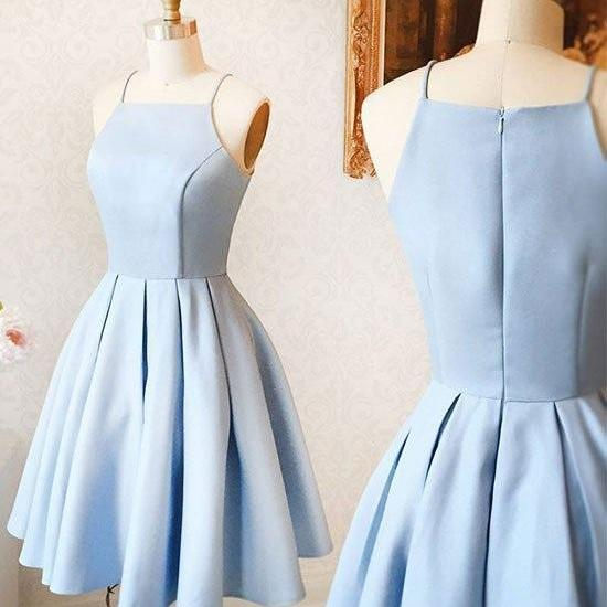 Cute A-Line Halter Light Blue Short Homecoming/Prom Dress,Sweet 16 Cocktail Dress,Short Prom Dress,Homecoming Dress,GJU89