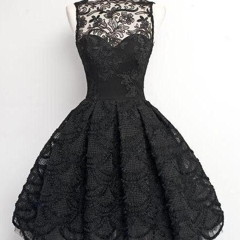 A-Line Scalloped-Edge Sleeveless Vintage Black Lace Prom Dress, Appliques Lace Prom Gowns,Sweet 16 Dress,Homecoming Dress,GH564