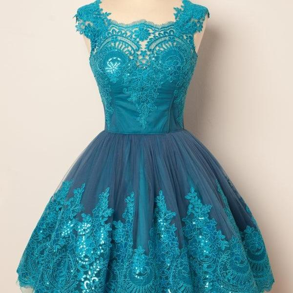 Charming A-Line Homecoming Dress,Round Neck Prom Dresses,Blue Tulle Short Homecoming Dress,Cute Mini Homecoming Dresses,Homecoming Dress CHIC643