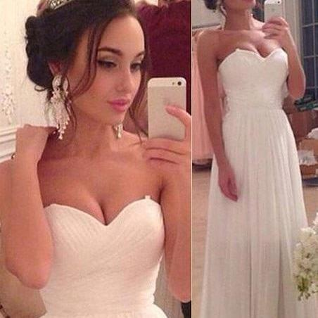 Gorgeous A-line Wedding Dress,Sweetheart Floor-length Wedding Gown,Ruched Chiffon White Wedding Dress,Chiffon Glamorous Evening Dress,Wedding Dresses,GU347